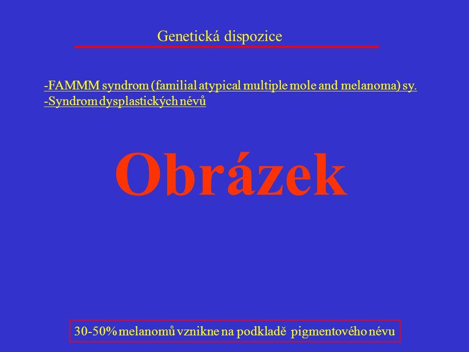 -FAMMM syndrom (familial atypical multiple mole and melanoma) sy. -Syndrom dysplastických névů Genetická dispozice 30-50% melanomů vznikne na podkladě