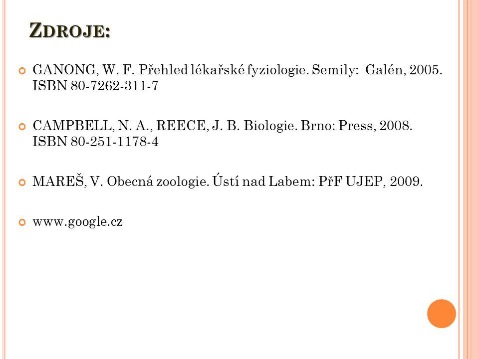 Z DROJE : GANONG, W. F. Přehled lékařské fyziologie. Semily: Galén, 2005. ISBN 80-7262-311-7 CAMPBELL, N. A., REECE, J. B. Biologie. Brno: Press, 2008
