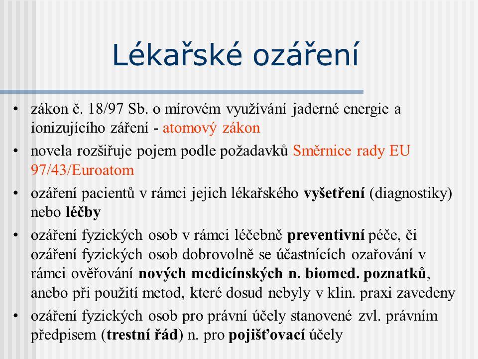 Lékařské ozáření zákon č. 18/97 Sb. o mírovém využívání jaderné energie a ionizujícího záření - atomový zákon novela rozšiřuje pojem podle požadavků S