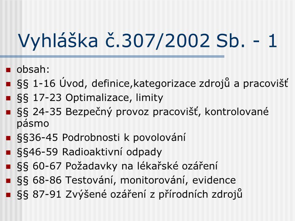 Vyhláška č.307/2002 Sb. - 1 obsah: §§ 1-16 Úvod, definice,kategorizace zdrojů a pracovišť §§ 17-23 Optimalizace, limity §§ 24-35 Bezpečný provoz praco