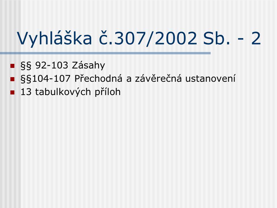 Vyhláška č.307/2002 Sb. - 2 §§ 92-103 Zásahy §§104-107 Přechodná a závěrečná ustanovení 13 tabulkových příloh