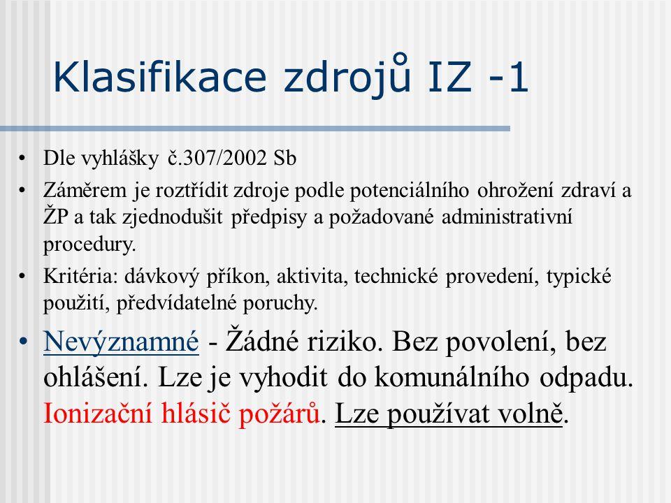 Klasifikace zdrojů IZ -1 Dle vyhlášky č.307/2002 Sb Záměrem je roztřídit zdroje podle potenciálního ohrožení zdraví a ŽP a tak zjednodušit předpisy a