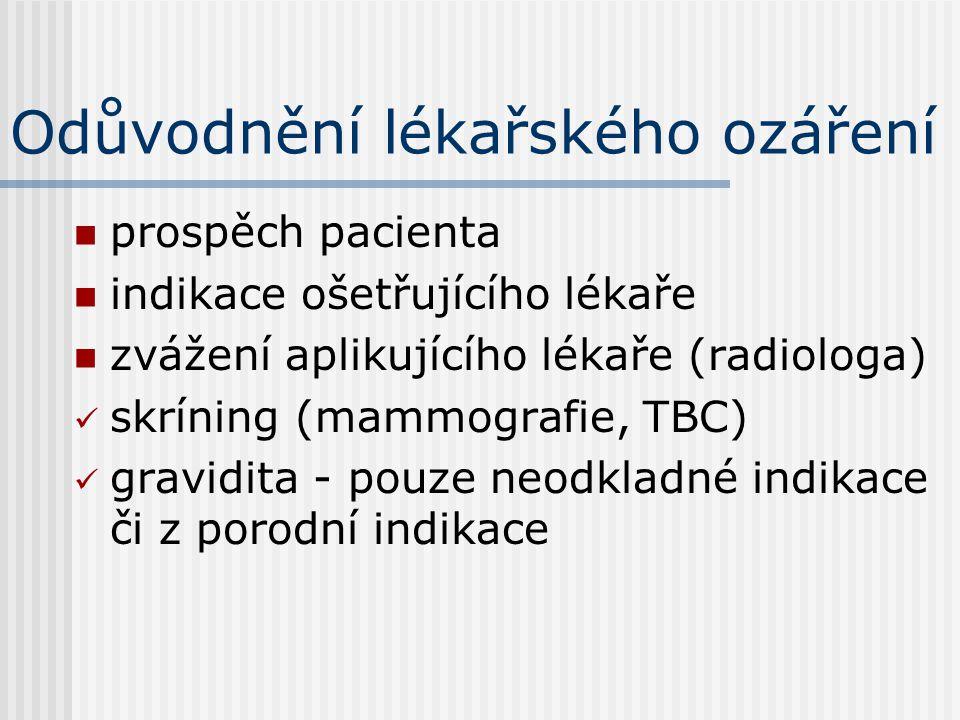 Odůvodnění lékařského ozáření prospěch pacienta indikace ošetřujícího lékaře zvážení aplikujícího lékaře (radiologa) skríning (mammografie, TBC) gravi