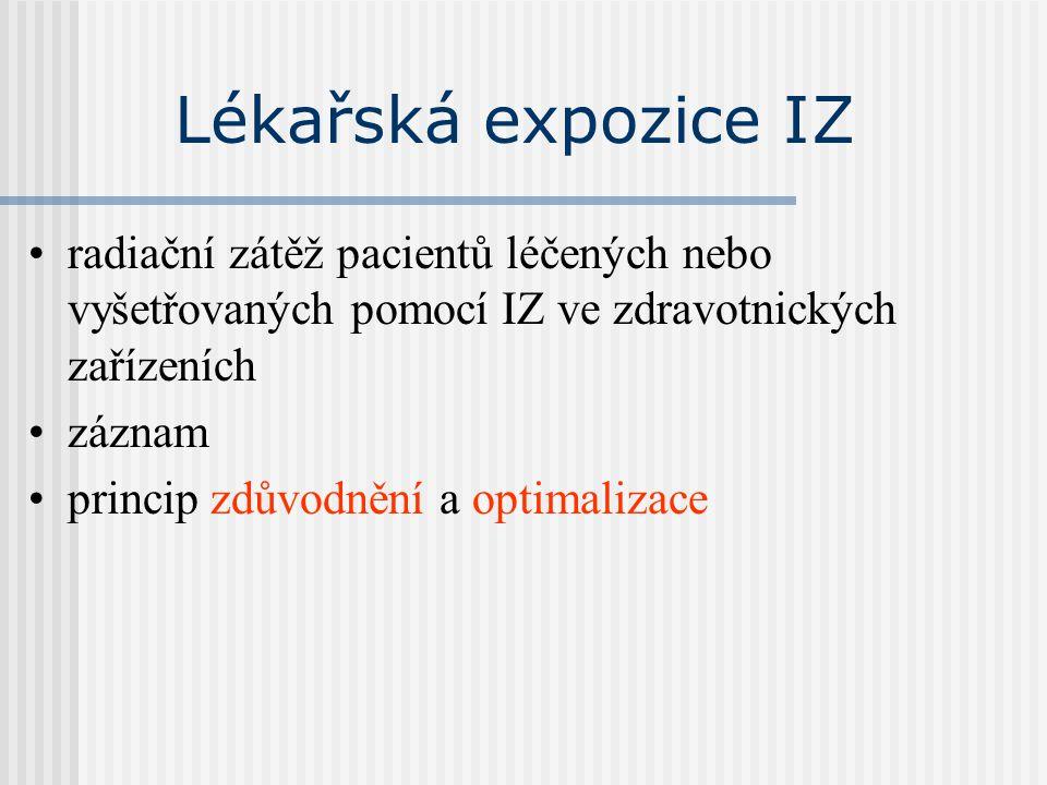 Lékařská expozice IZ radiační zátěž pacientů léčených nebo vyšetřovaných pomocí IZ ve zdravotnických zařízeních záznam princip zdůvodnění a optimaliza