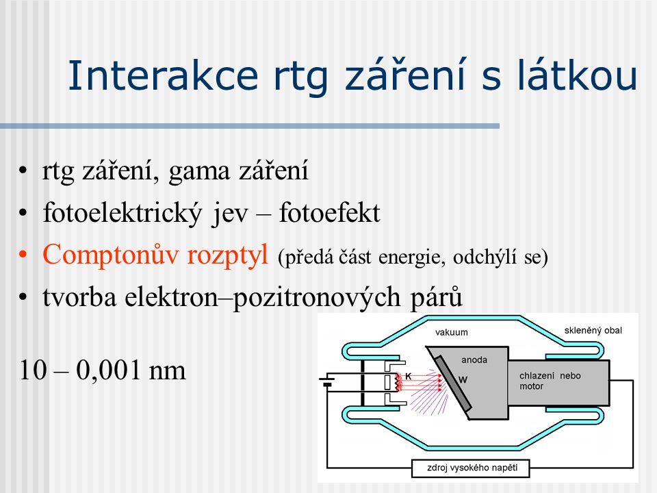 Interakce rtg záření s látkou rtg záření, gama záření fotoelektrický jev – fotoefekt Comptonův rozptyl (předá část energie, odchýlí se) tvorba elektro