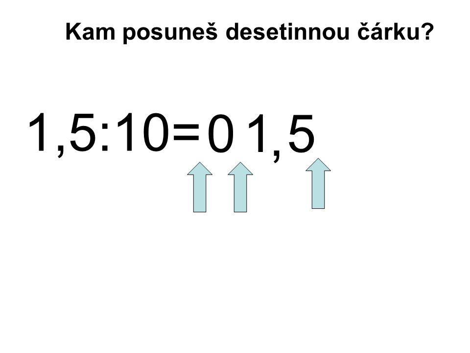 1,5:10= 1 5 Kam posuneš desetinnou čárku?, 0