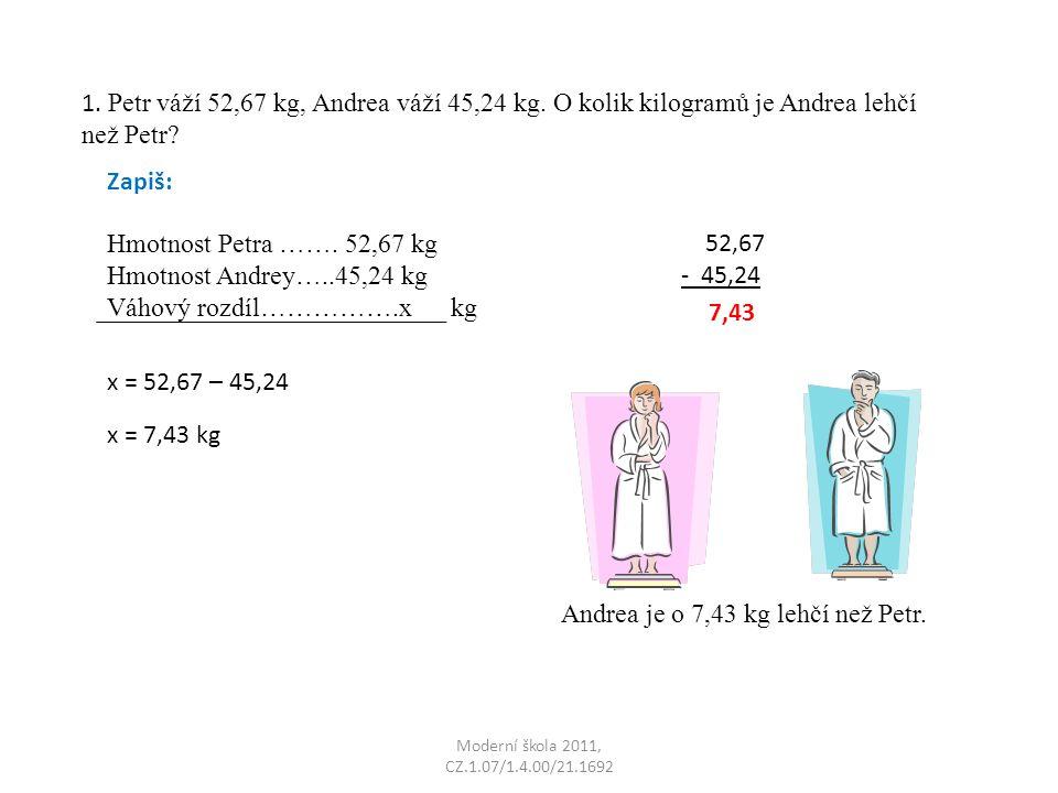 Moderní škola 2011, CZ.1.07/1.4.00/21.1692 1.Petr váží 52,67 kg, Andrea váží 45,24 kg.