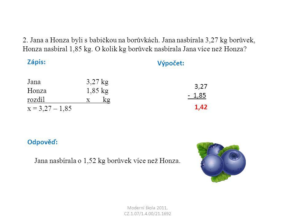 Moderní škola 2011, CZ.1.07/1.4.00/21.1692 2.Jana a Honza byli s babičkou na borůvkách.