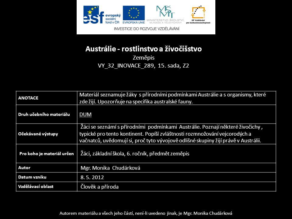 Autorem materiálu a všech jeho částí, není-li uvedeno jinak, je Mgr. Monika Chudárková ANOTACE Materiál seznamuje žáky s přírodními podmínkami Austrál