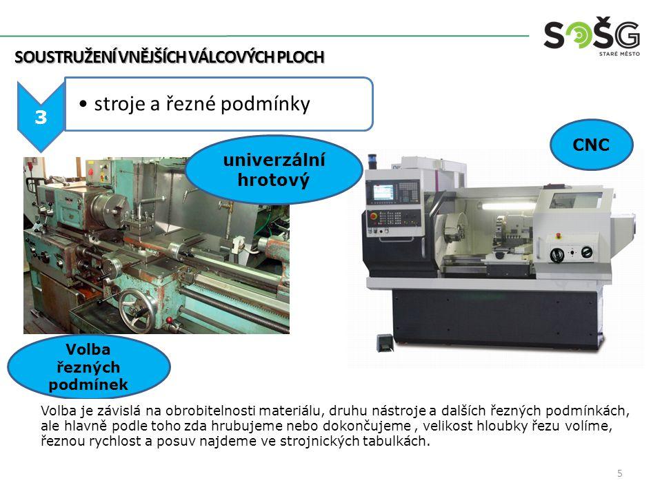 SOUSTRUŽENÍ VNĚJŠÍCH VÁLCOVÝCH PLOCH 3 stroje a řezné podmínky CNC univerzální hrotový Volba řezných podmínek Volba je závislá na obrobitelnosti mater
