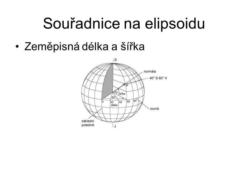 Souřadnice na elipsoidu Zeměpisná délka a šířka