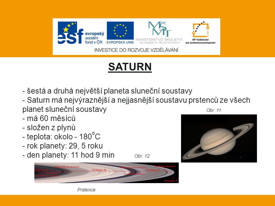 Vlastní práce: SATURN - šestá a druhá největší planeta sluneční soustavy - Saturn má nejvýraznější a nejjasnější soustavu prstenců ze všech planet slu