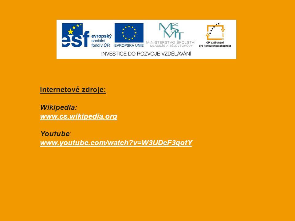 Internetové zdroje: Wikipedia: www.cs.wikipedia.org Youtube: www.youtube.com/watch?v=W3UDeF3qotY