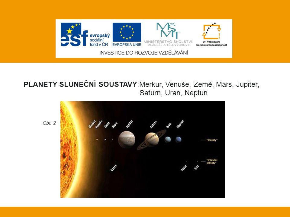 Vlastní práce: PLANETY SLUNEČNÍ SOUSTAVY:Merkur, Venuše, Země, Mars, Jupiter, Saturn, Uran, Neptun Obr. 2