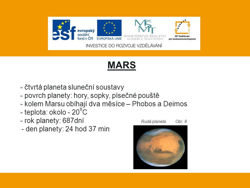 Vlastní práce: MARS - čtvrtá planeta sluneční soustavy - povrch planety: hory, sopky, písečné pouště - kolem Marsu obíhají dva měsíce – Phobos a Deimo