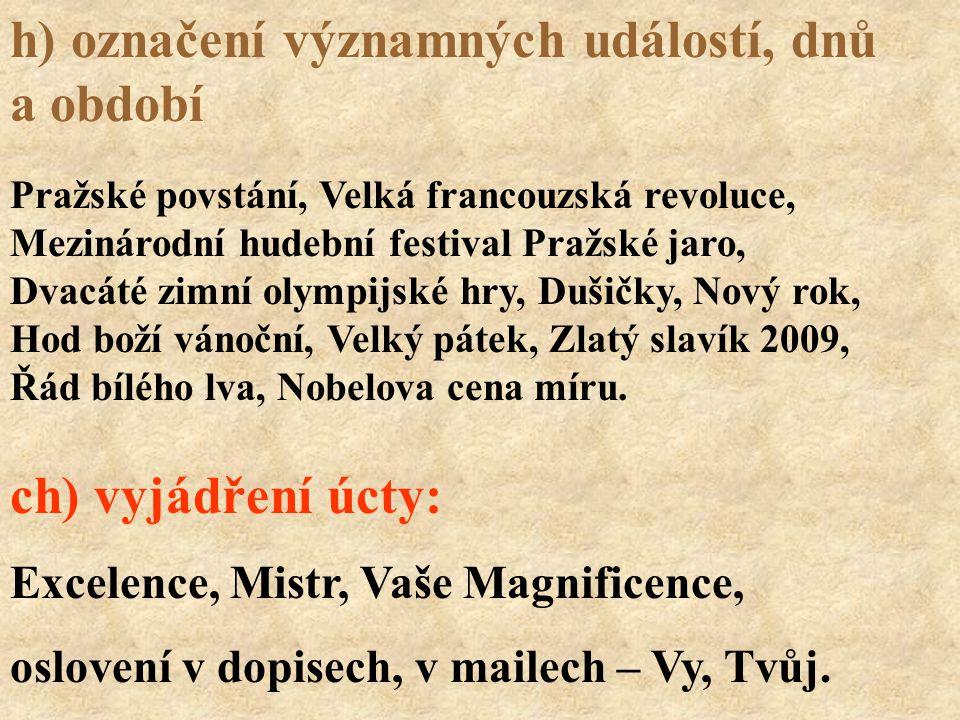 Excelence, Mistr, Vaše Magnificence, oslovení v dopisech, v mailech – Vy, Tvůj. Pražské povstání, Velká francouzská revoluce, Mezinárodní hudební fest
