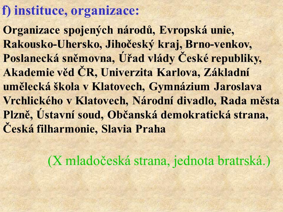 Organizace spojených národů, Evropská unie, Rakousko-Uhersko, Jihočeský kraj, Brno-venkov, Poslanecká sněmovna, Úřad vlády České republiky, Akademie v