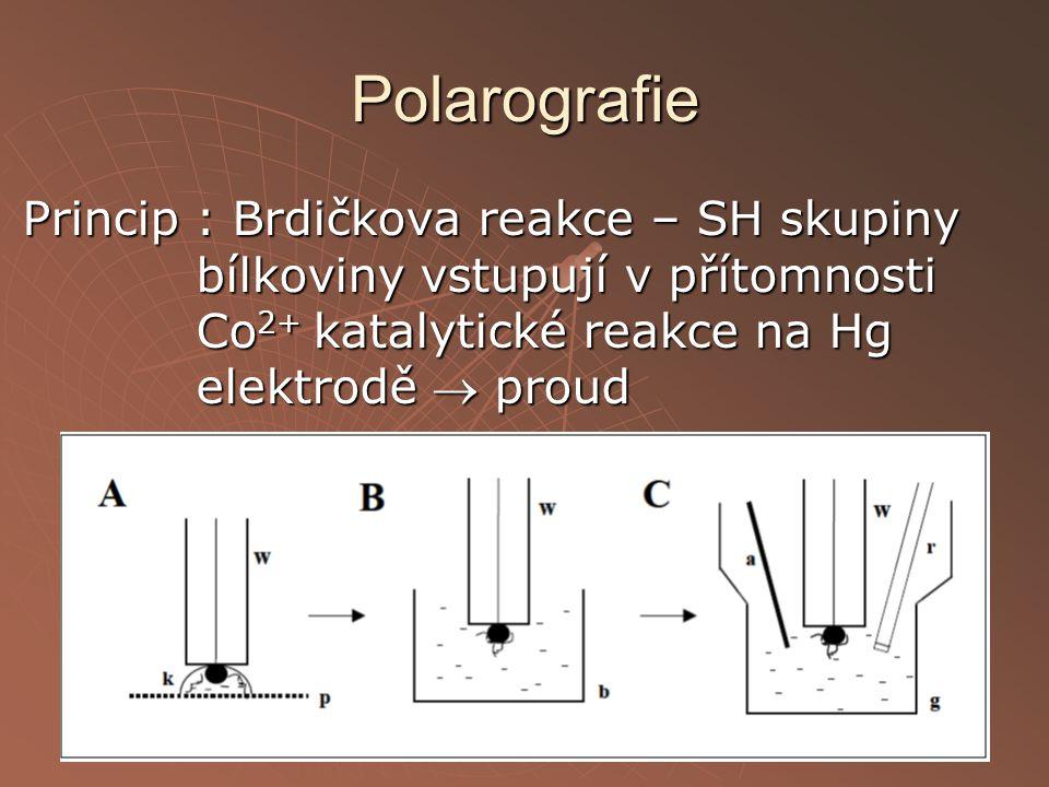Polarografie Princip : Brdičkova reakce – SH skupiny bílkoviny vstupují v přítomnosti Co 2+ katalytické reakce na Hg elektrodě  proud