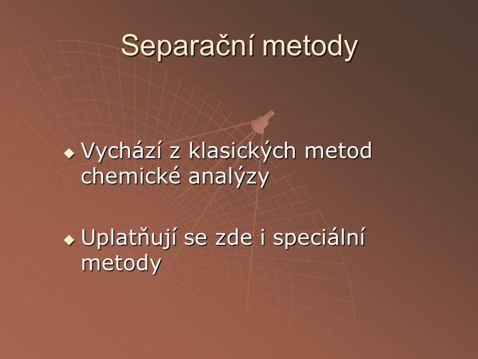Separační metody  Vychází z klasických metod chemické analýzy  Uplatňují se zde i speciální metody