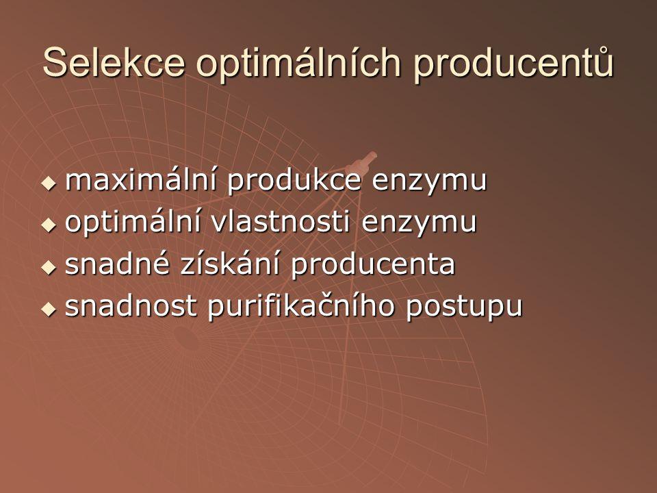 Selekce optimálních producentů  maximální produkce enzymu  optimální vlastnosti enzymu  snadné získání producenta  snadnost purifikačního postupu