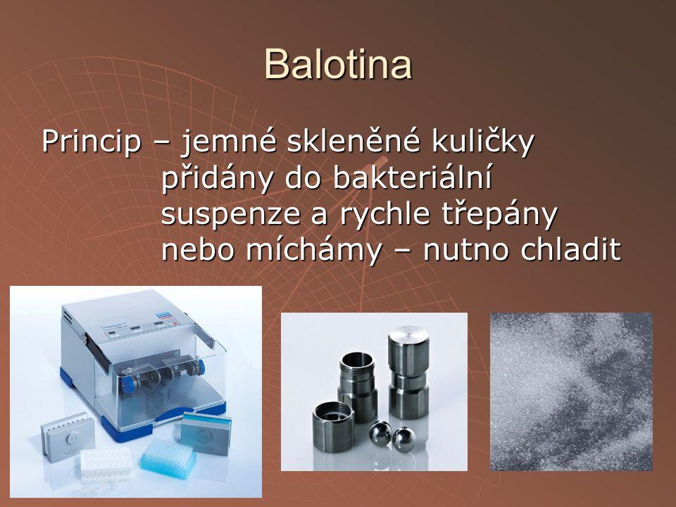 Balotina Princip – jemné skleněné kuličky přidány do bakteriální suspenze a rychle třepány nebo míchámy – nutno chladit