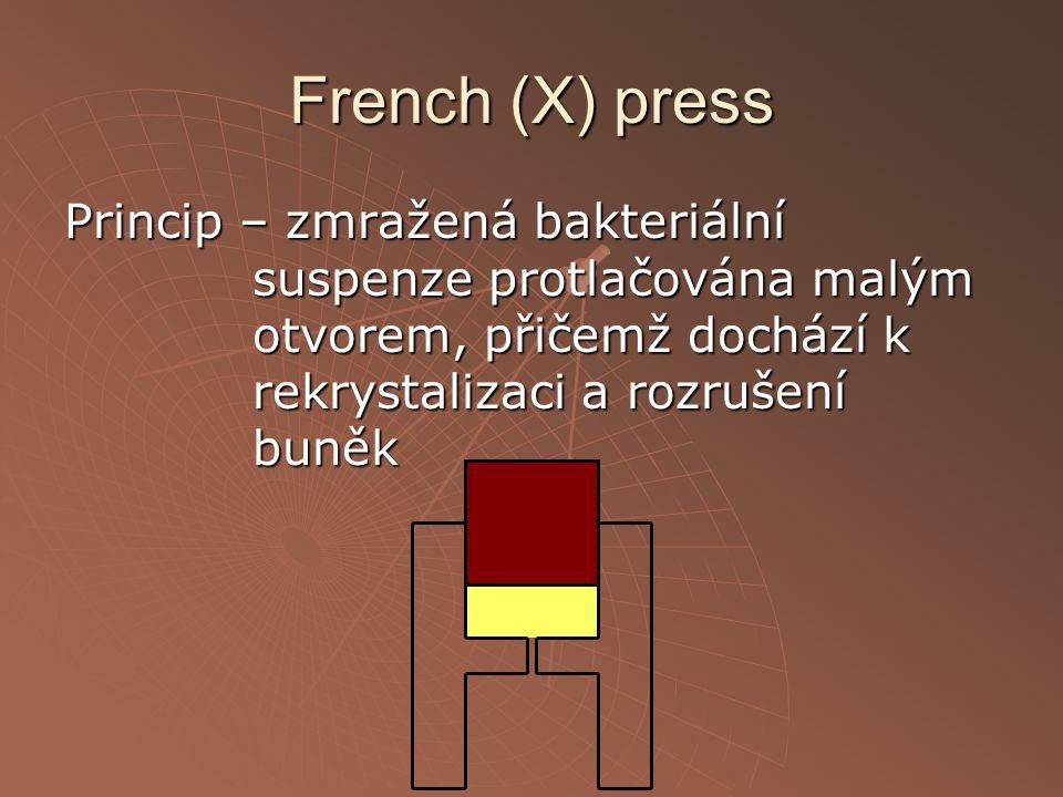 French (X) press Princip – zmražená bakteriální suspenze protlačována malým otvorem, přičemž dochází k rekrystalizaci a rozrušení buněk