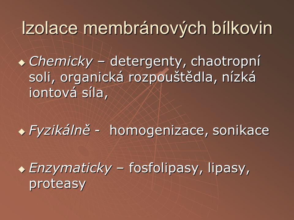 Izolace membránových bílkovin  Chemicky – detergenty, chaotropní soli, organická rozpouštědla, nízká iontová síla,  Fyzikálně - homogenizace, sonika