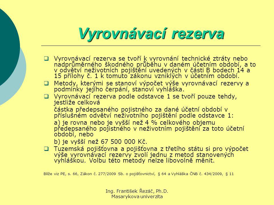 Ing. František Řezáč, Ph.D. Masarykova univerzita Vyrovnávací rezerva  Vyrovnávací rezerva se tvoří k vyrovnání technické ztráty nebo nadprůměrného š