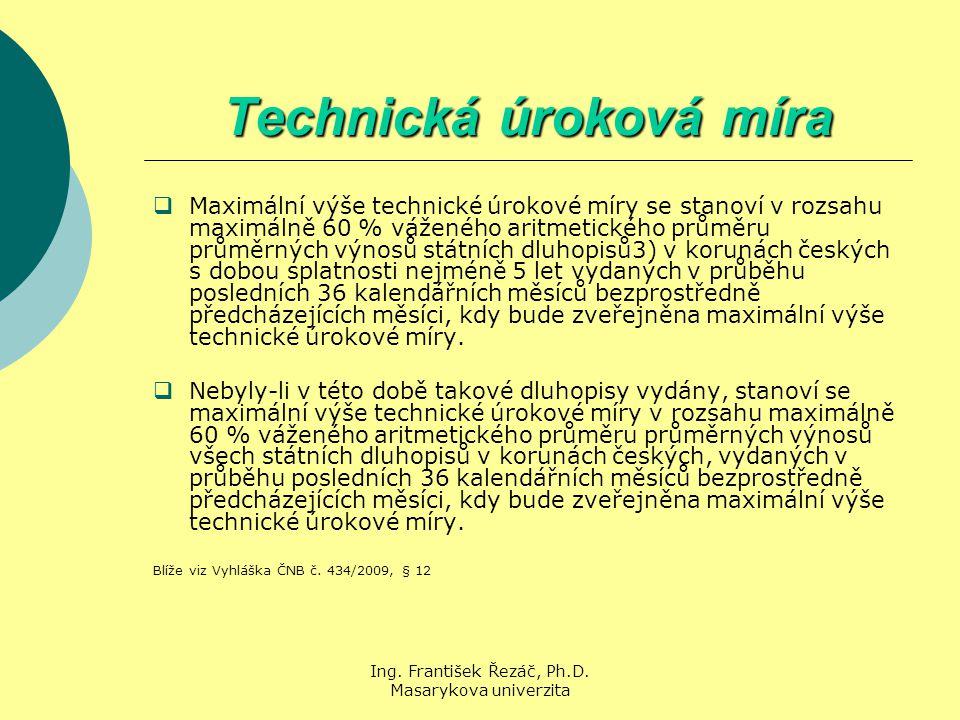 Ing. František Řezáč, Ph.D. Masarykova univerzita Technická úroková míra  Maximální výše technické úrokové míry se stanoví v rozsahu maximálně 60 % v