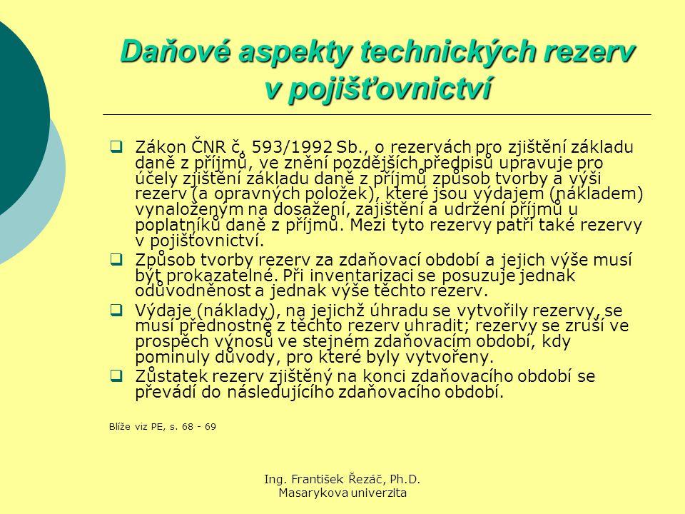 Ing. František Řezáč, Ph.D. Masarykova univerzita Daňové aspekty technických rezerv v pojišťovnictví  Zákon ČNR č. 593/1992 Sb., o rezervách pro zjiš
