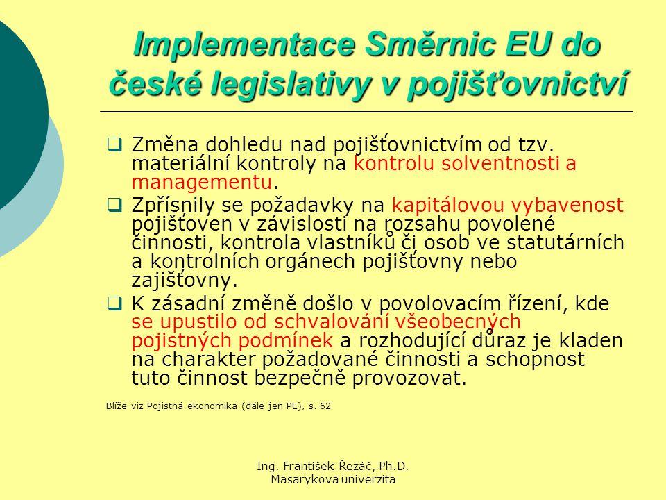 Ing. František Řezáč, Ph.D. Masarykova univerzita Implementace Směrnic EU do české legislativy v pojišťovnictví  Změna dohledu nad pojišťovnictvím od