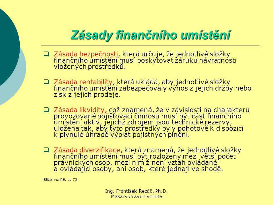 Ing. František Řezáč, Ph.D. Masarykova univerzita Zásady finančního umístění  Zásada bezpečnosti, která určuje, že jednotlivé složky finančního umíst