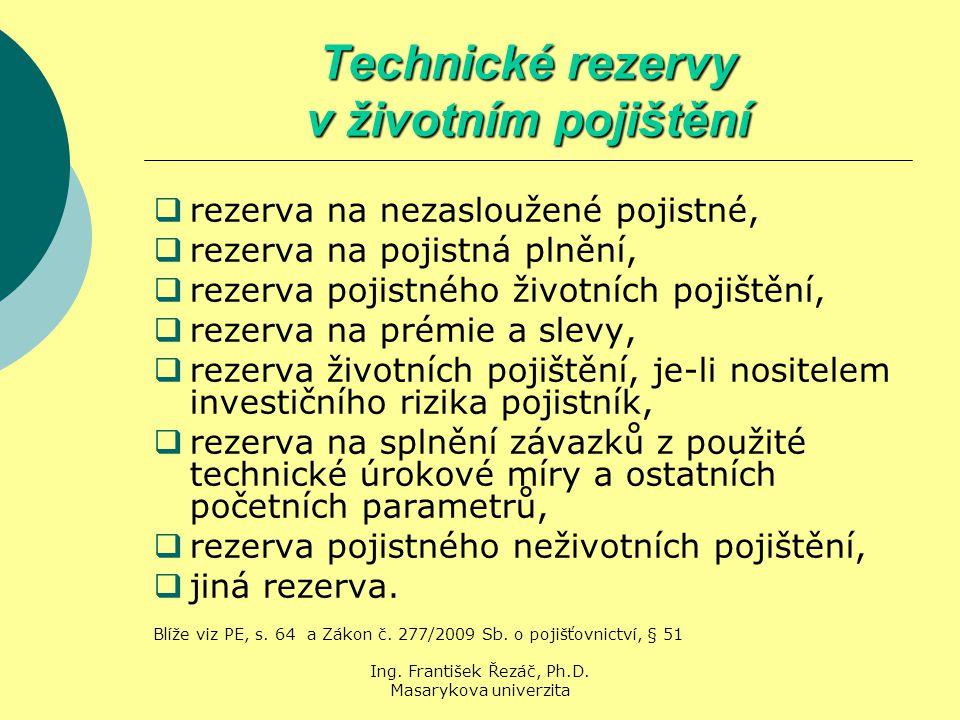 Ing. František Řezáč, Ph.D. Masarykova univerzita Technické rezervy v životním pojištění  rezerva na nezasloužené pojistné,  rezerva na pojistná pln