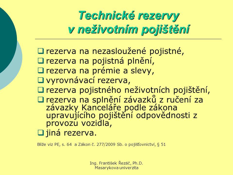 Ing. František Řezáč, Ph.D. Masarykova univerzita Technické rezervy v neživotním pojištění  rezerva na nezasloužené pojistné,  rezerva na pojistná p
