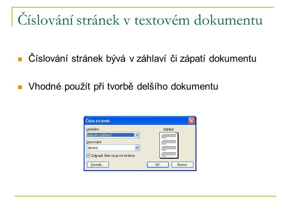 Číslování stránek v textovém dokumentu Číslování stránek bývá v záhlaví či zápatí dokumentu Vhodné použít při tvorbě delšího dokumentu