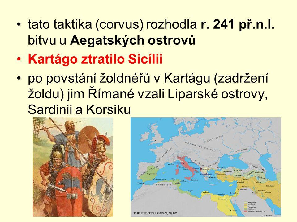 tato taktika (corvus) rozhodla r. 241 př.n.l. bitvu u Aegatských ostrovů Kartágo ztratilo Sicílii po povstání žoldnéřů v Kartágu (zadržení žoldu) jim