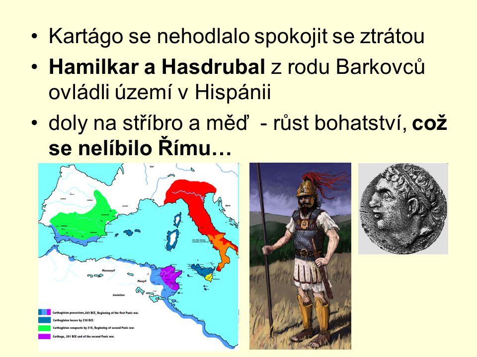 Kartágo se nehodlalo spokojit se ztrátou Hamilkar a Hasdrubal z rodu Barkovců ovládli území v Hispánii doly na stříbro a měď - růst bohatství, což se