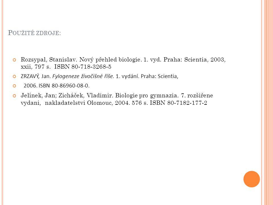 P OUŽITÉ ZDROJE : Rozsypal, Stanislav. Nový přehled biologie. 1. vyd. Praha: Scientia, 2003, xxii, 797 s. ISBN 80-718-3268-5 ZRZAVÝ, Jan. Fylogeneze ž
