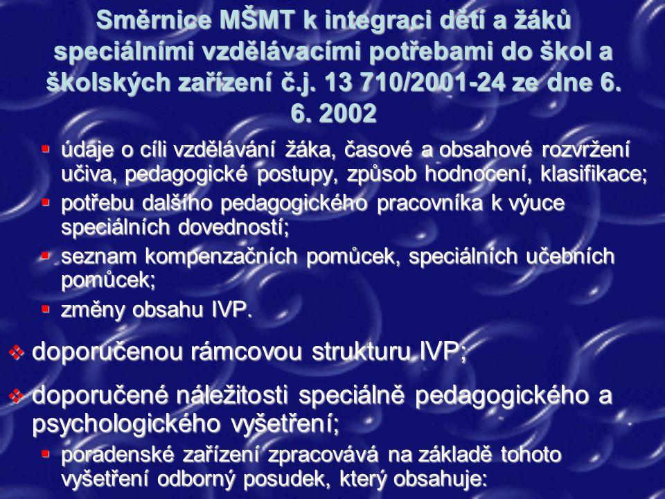 Směrnice MŠMT k integraci dětí a žáků speciálními vzdělávacími potřebami do škol a školských zařízení č.j. 13 710/2001-24 ze dne 6. 6. 2002  údaje o