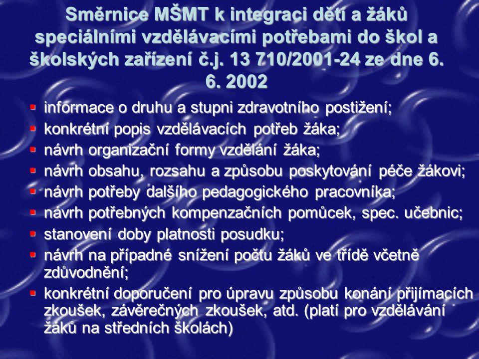 Směrnice MŠMT k integraci dětí a žáků speciálními vzdělávacími potřebami do škol a školských zařízení č.j. 13 710/2001-24 ze dne 6. 6. 2002  informac