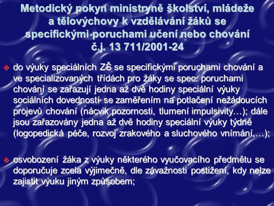 Metodický pokyn ministryně školství, mládeže a tělovýchovy k vzdělávání žáků se specifickými poruchami učení nebo chování č.j. 13 711/2001-24  do výu