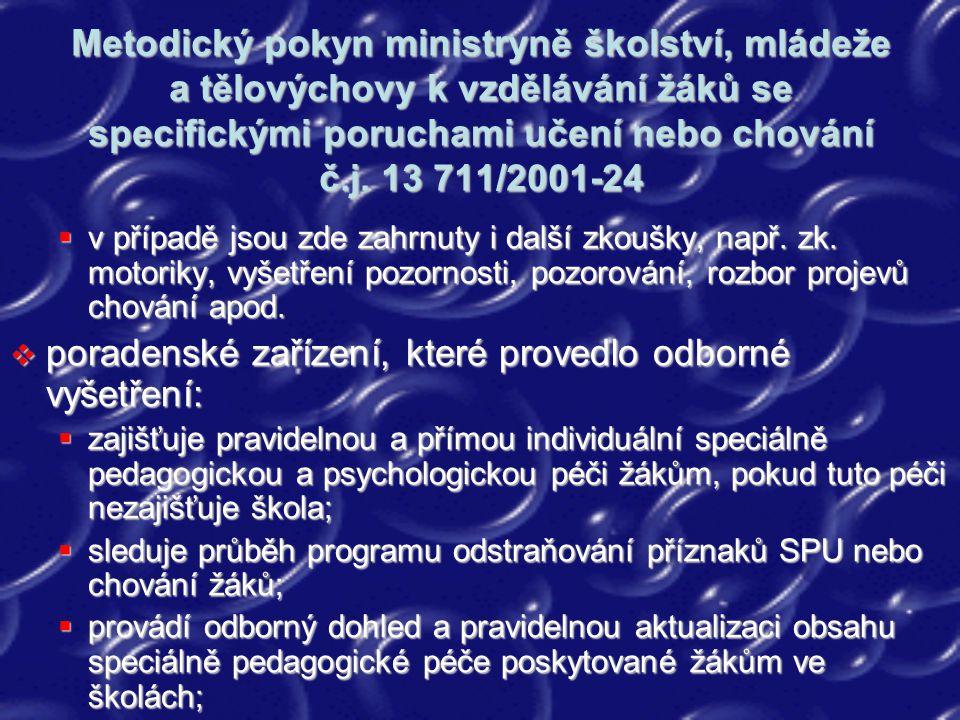Metodický pokyn ministryně školství, mládeže a tělovýchovy k vzdělávání žáků se specifickými poruchami učení nebo chování č.j. 13 711/2001-24  v příp