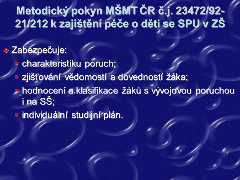 Metodický pokyn MŠMT ČR č.j. 23472/92- 21/212 k zajištění péče o děti se SPU v ZŠ  Zabezpečuje:  charakteristiku poruch;  zjišťování vědomostí a do