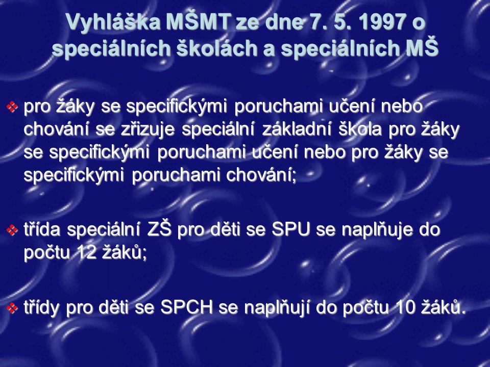 Vyhláška MŠMT ze dne 7. 5. 1997 o speciálních školách a speciálních MŠ  pro žáky se specifickými poruchami učení nebo chování se zřizuje speciální zá