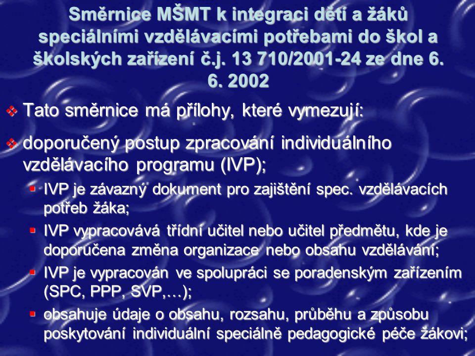 Směrnice MŠMT k integraci dětí a žáků speciálními vzdělávacími potřebami do škol a školských zařízení č.j. 13 710/2001-24 ze dne 6. 6. 2002  Tato smě