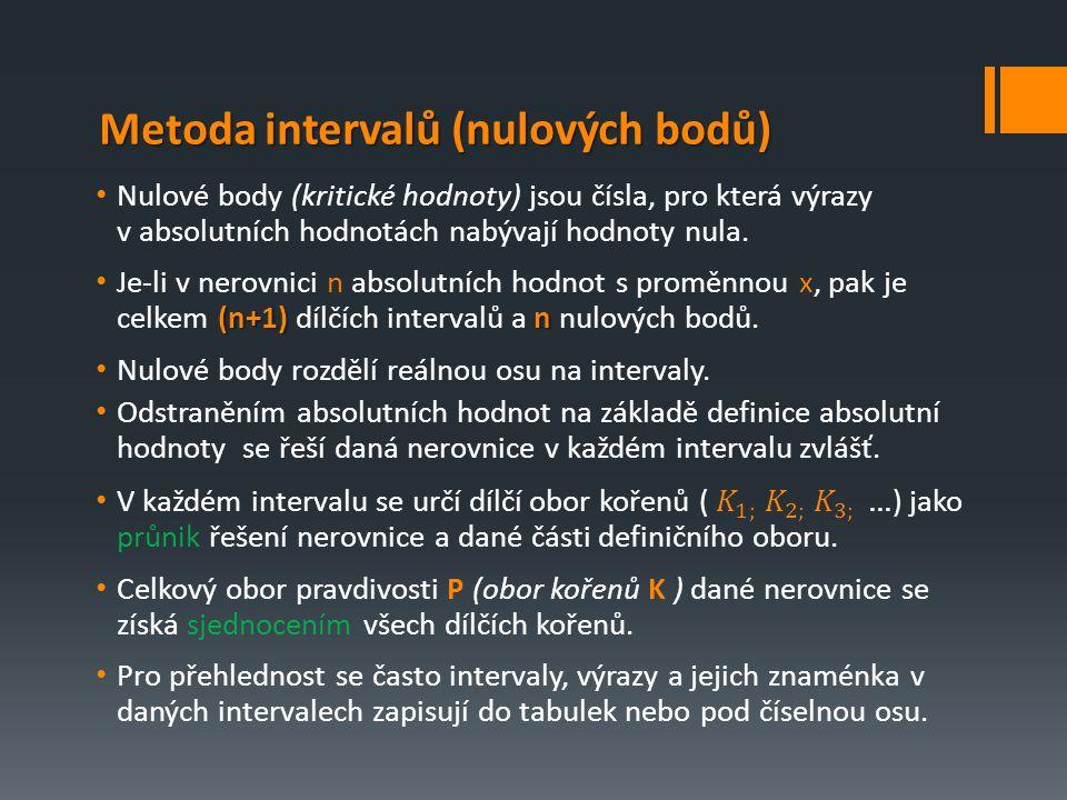 Metoda intervalů (nulových bodů)