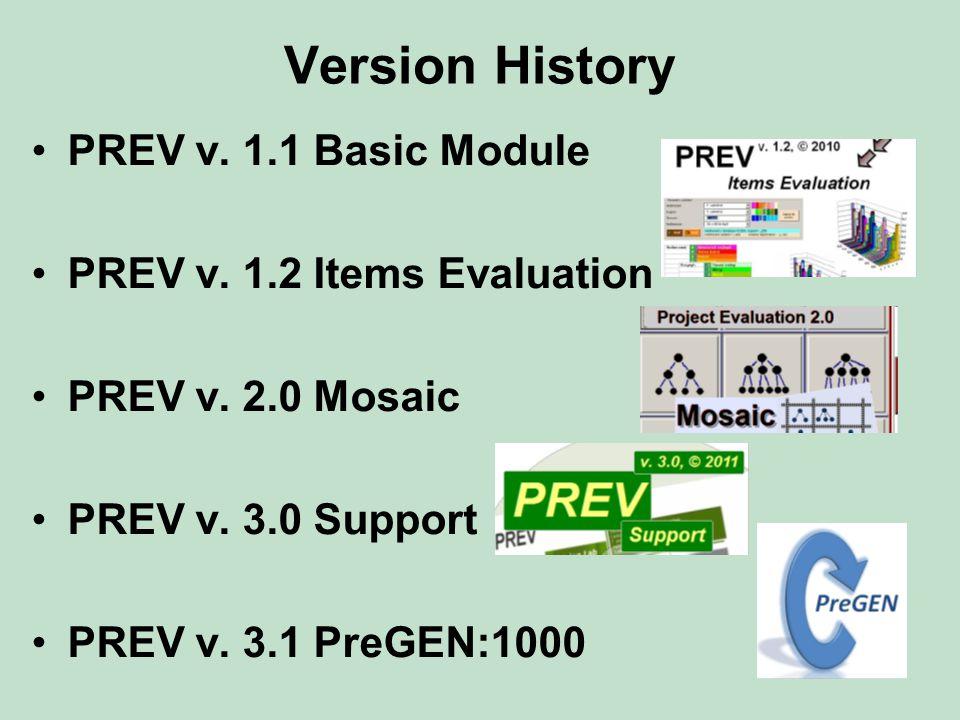 Version History PREV v. 1.1 Basic Module PREV v. 1.2 Items Evaluation PREV v. 2.0 Mosaic PREV v. 3.0 Support PREV v. 3.1 PreGEN:1000