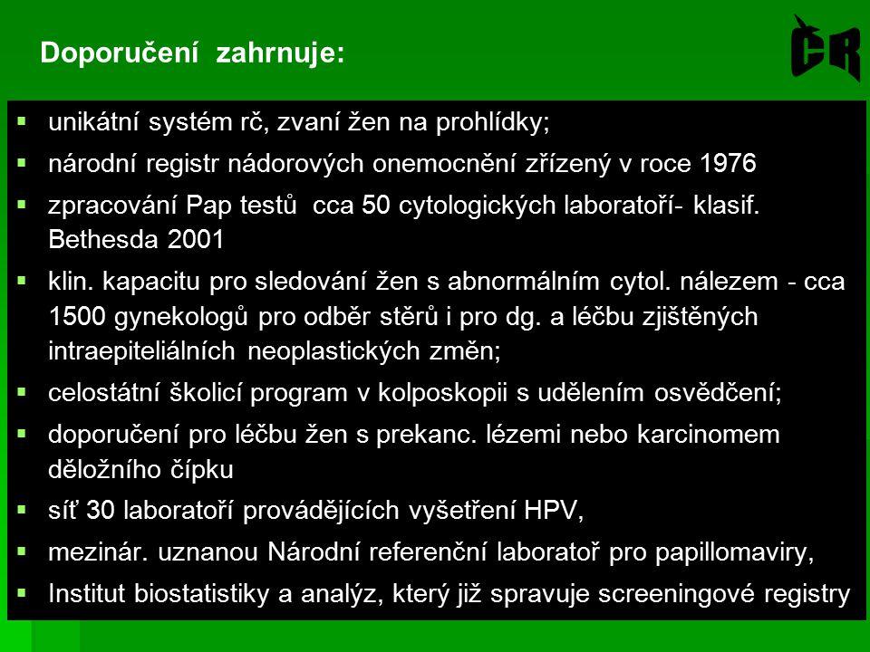 Doporučení zahrnuje:  unikátní systém rč, zvaní žen na prohlídky;  národní registr nádorových onemocnění zřízený v roce 1976  zpracování Pap testů