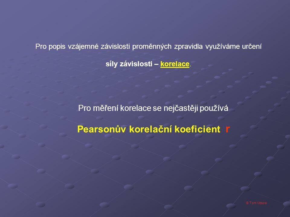 """© Tom Vespa Rozptyl proměnné """"x Rozptyl proměnné """"y Kovariace veličin x,y"""