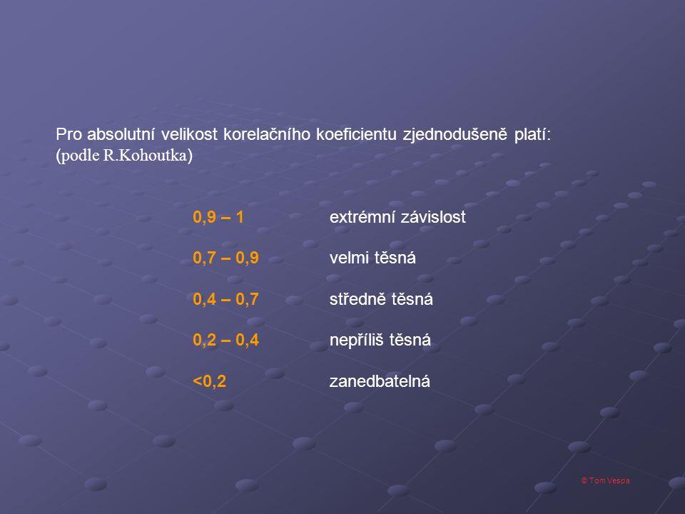 © Tom Vespa Pro absolutní velikost korelačního koeficientu zjednodušeně platí: ( podle R.Kohoutka ) 0,9 – 1extrémní závislost 0,7 – 0,9velmi těsná 0,4